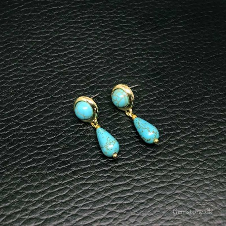 Earrings Turquoise Stone Gold Color Brass Stud Earrings