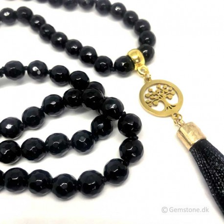 Necklace Agate Black Faceted Stone Tree of Life Pendant