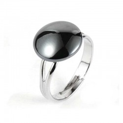 Ring Hematite Oval Natural Stone / Stainless Steel Adjustable Finger Ring