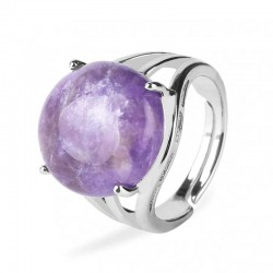 Amethyst 16mm Ring Silver Plated Adjustable Size