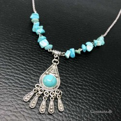 Necklace Turquoise Gemstone Stainless Steel Chain