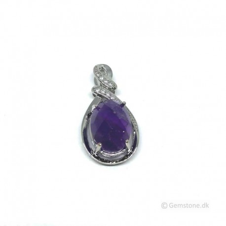 Pendant Amethyst Faceted Crystal Silver Necklace Pendant