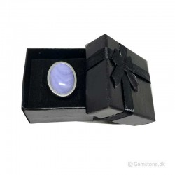 Ring Blue Lace Agate Oval Gemstone Stainless Steel Fingerring