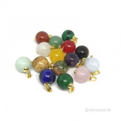 Ball Pendant Natural Crystal Stone Gold Plated