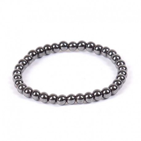 Hematite Magnetic Bracelet Round Beads 6mm