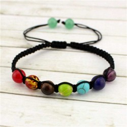 Chakra Energy bracelet braided with 7 healing stone yoga jewelry