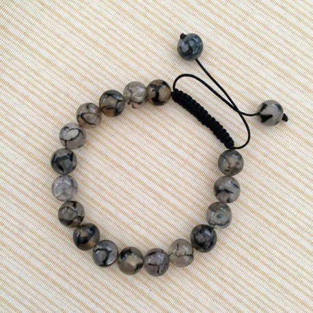 Mens Bracelet Shamballa Dragon Veins Agate 10mm beads