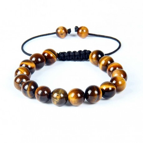 Tiger Eye Shamballa men's bracelet 10mm gemstone beads