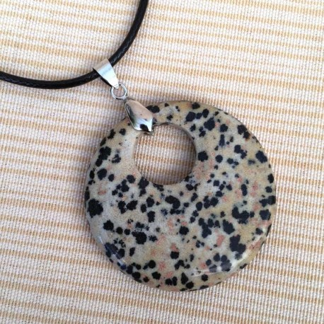 Dalmatian Jasper round pendant & Leather Necklace
