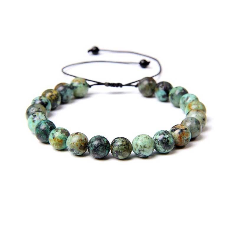 Unakit sten rundt vedhæng med læderhalskæde Natural Unakite Gemstone
