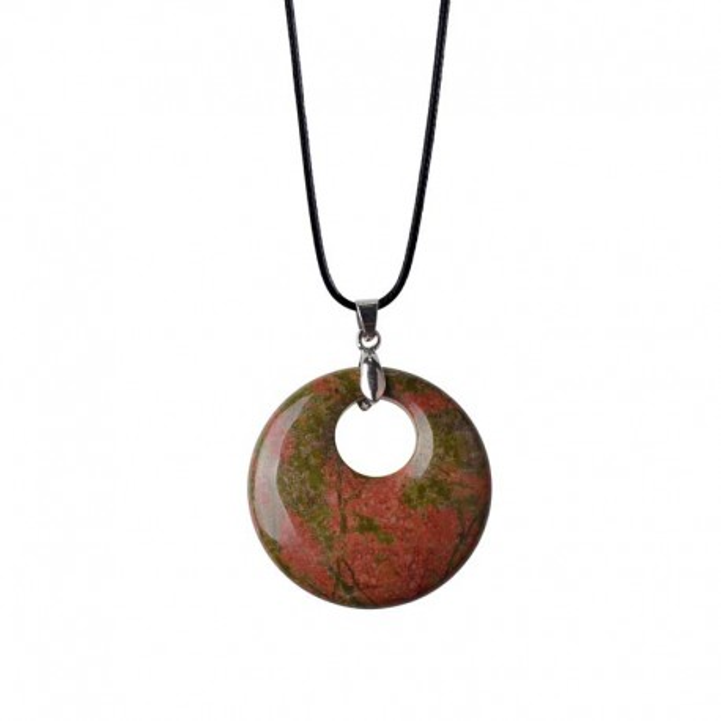 Unakite round pendant & Leather Necklace